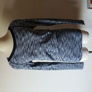 CLIMAWEAR Black White Space Dye Long Sleeve Yoga Athletic Shirt Top M